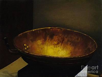 Rivets Painting - Antique Brass Bowl by Mitzisan Art LLC
