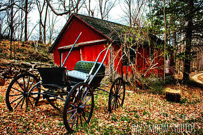 Old Farm Equipment Painting - Antique Buggy And Barn by Caitlin Lodato