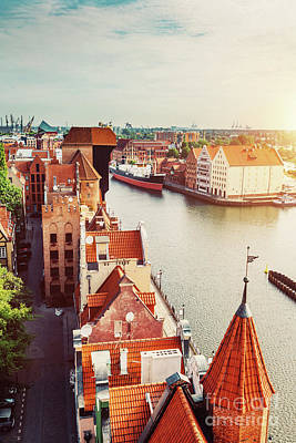 Photograph - Antique Building And River Motlawa In Gdansk by Michal Bednarek