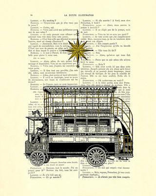 Double-decker Bus Vintage Illustration Dictioanry Art Art Print by Madame Memento