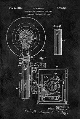 Vintage Camera Drawing - Antique Camera Flash Patent by Dan Sproul