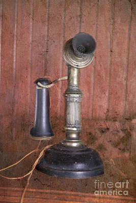Nikki Vig Royalty-Free and Rights-Managed Images - Antique Candlestick Phone by Nikki Vig