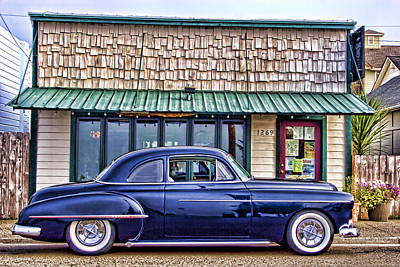 Old Hotrod Photograph - Antique Car - Blue by Carol Leigh