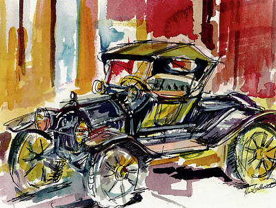 Wall Art - Painting - Antique Car Cadillac Roadster Watercolor Painting by Kim Guthrie