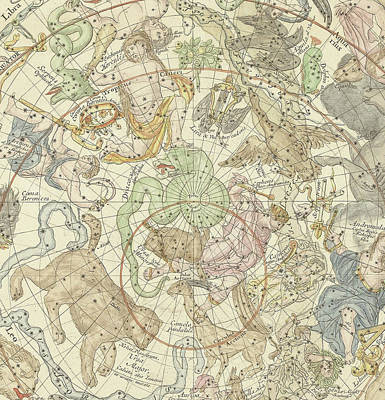 Antique Celestial Map Art Print by Carel Allard