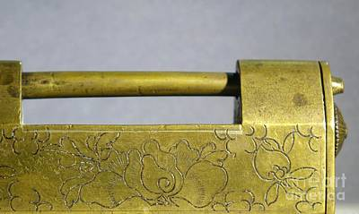 Photograph - Antique Chinese Bronze Lock by Yali Shi