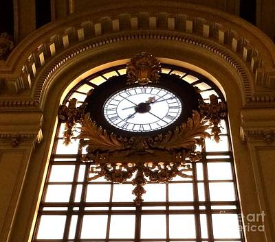 Photograph - Antique Clock - Hoboken Terminal New Jersey by Miriam Danar