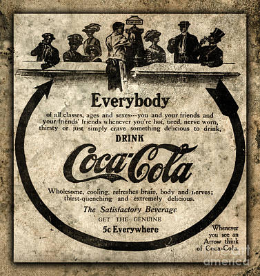 Photograph - Antique Coca Cola Advertisement by John Stephens