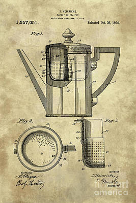 Antique Coffee Pot Blueprint Patent Illustration, Industrial Farmhouse Kitchen Art Art Print by Tina Lavoie
