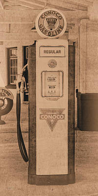 Photograph - Antique Conoco Gas Pump Regular Sepia by David King