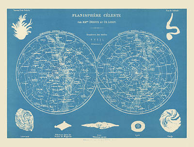 Drawing - Antique Constellation Map By Drioux And Leroy - 1886 by Blue Monocle