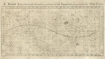 Drawing - Antique Constellation Map By William Croswell - 1810 by Blue Monocle