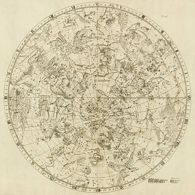 Drawing - Antique Constellation Map - Northern Hemisphere - By John Flamsteed - 1729 by Blue Monocle