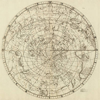 Drawing - Antique Constellation Map - Southern Hemisphere - By John Flamsteed - 1729 by Blue Monocle