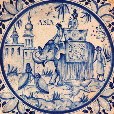 Ceramic Art - Continental Romantic Blue And White Ceramic Tile Depicting An Asian Elephant With Mahouts And Birds by Unknown