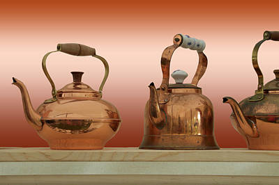 Boiler Mixed Media - Antique Copper Kettles by Thomas Woolworth