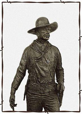 Photograph - Antique Cowboy Sculpture by Ellen O'Reilly