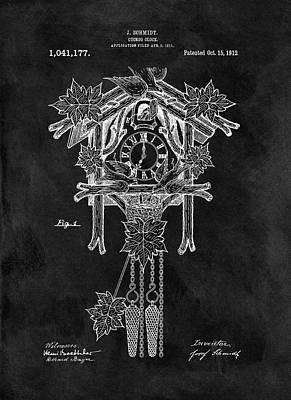 Cuckoo Mixed Media - Antique Cuckoo Clock Patent by Dan Sproul