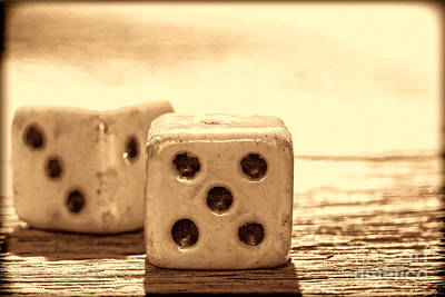Photograph - Antique Dice  by American West Legend By Olivier Le Queinec