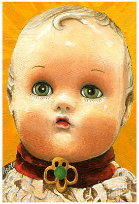 Antique Doll Oil Painting Art Print by Linda Apple