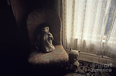 Photograph - Antique Dolls On Chair by Jim Corwin