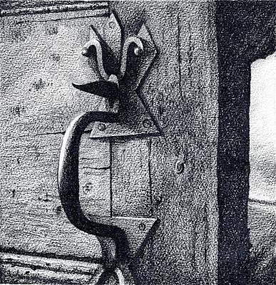 Hardware Drawing - Antique Door Handle by Alyson Therrien