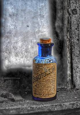Steampunk Royalty-Free and Rights-Managed Images - Antique Ergotole Sharp and Dohme Baltimore Cobalt Blue Medicine Bottle - Maryland Glass Corporation by Marianna Mills
