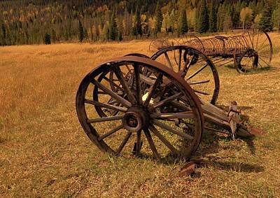 Photograph - Antique Farm Equipment In Colorado Field by Dan Sproul