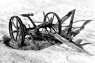 Photograph - Antique Farm Machine In Winter Snow by Olivier Le Queinec