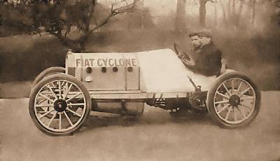 Digital Art - Antique Fiat Racer Sepia by David King