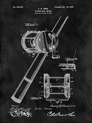 Pole Drawing - Antique Fishing Reel Patent by Dan Sproul