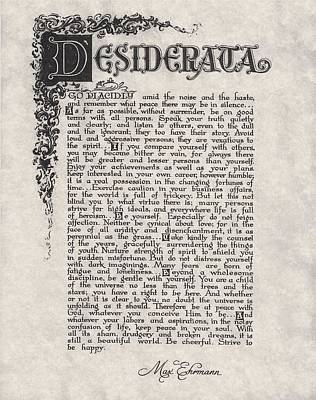 The Universe Drawing - Antique Florentine Desiderata Poem By Max Ehrmann On Parchment by Desiderata Gallery