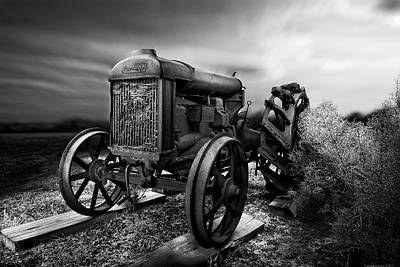 Photograph - Antique Fordson F Tractor Sunrise Sky In Bw by YoPedro