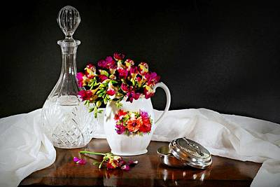 Photograph - Antique And Freesia by Diana Angstadt