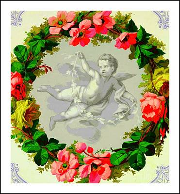 Digital Art - Antique French Cupid Inside A Wreath Of Roses by Peter Gumaer Ogden Collection