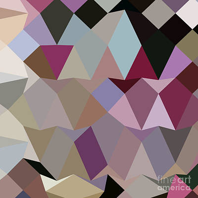 Antique Fuschia Abstract Low Polygon Background Art Print