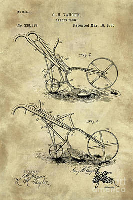 Soil Drawing - Antique Garden Plow Blueprint Patent Drawing Plan, Industrial Farmhouse by Tina Lavoie