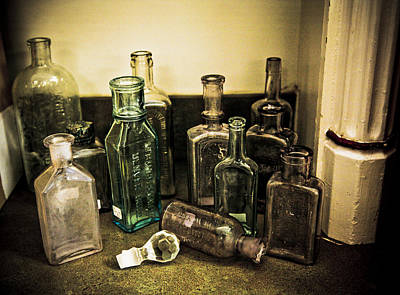 Stopper Photograph - Antique Glass Bottles by Marilyn Hunt