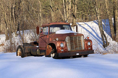 Photograph - Antique Grungy Truck In Snow by John Stephens