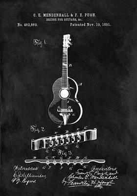 Musicians Drawings - Antique Guitar Bridge Patent by Dan Sproul