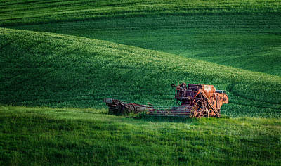 Photograph - Antique Harvester By Moonlight by Mary Jo Allen