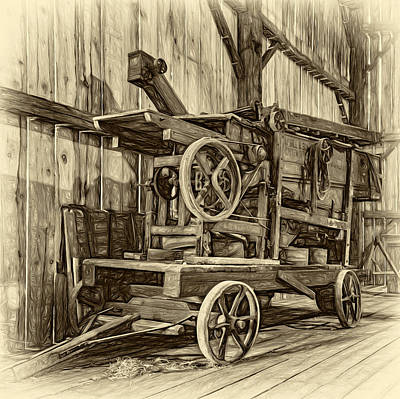 Antique Hay Baler Retirement - Sepia Art Print