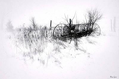 Digital Art - Antique Hay Rake In Snow by Anna Louise
