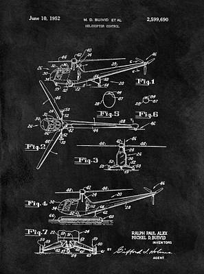 Helicopter Drawing - Antique Helicopter Blueprint by Dan Sproul