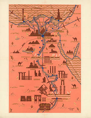 Royalty-Free and Rights-Managed Images - Antique Illustrated Map of Egypt _ Monuments around River Nile - Cairo, Luxor, Abu Simbel by Studio Grafiikka