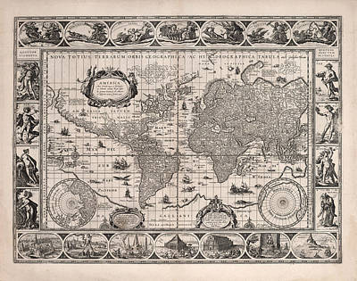 Old World Vintage Cartographic Maps Wall Art - Drawing - Antique Illustrated Map Of The World - Rivers Of The World - Illustrated Chart - Old Map by Studio Grafiikka