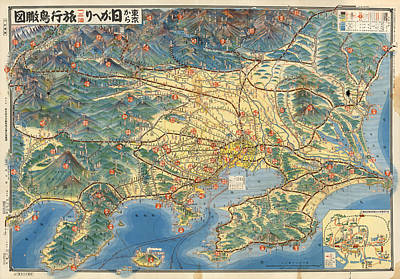 Royalty-Free and Rights-Managed Images - Antique Japanese Map showing Road and Rail routes - Historical Map - Cartography by Studio Grafiikka