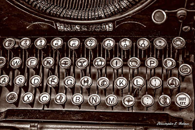 Photograph - Antique Keyboard - Sepia by Christopher Holmes