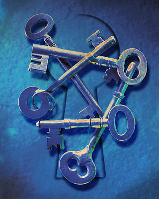 Blue Hues - Antique Keys by Kelley King