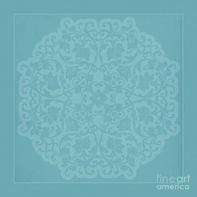 Antique Lace Silhouette In Deep Tiffany Blue Green Art Print